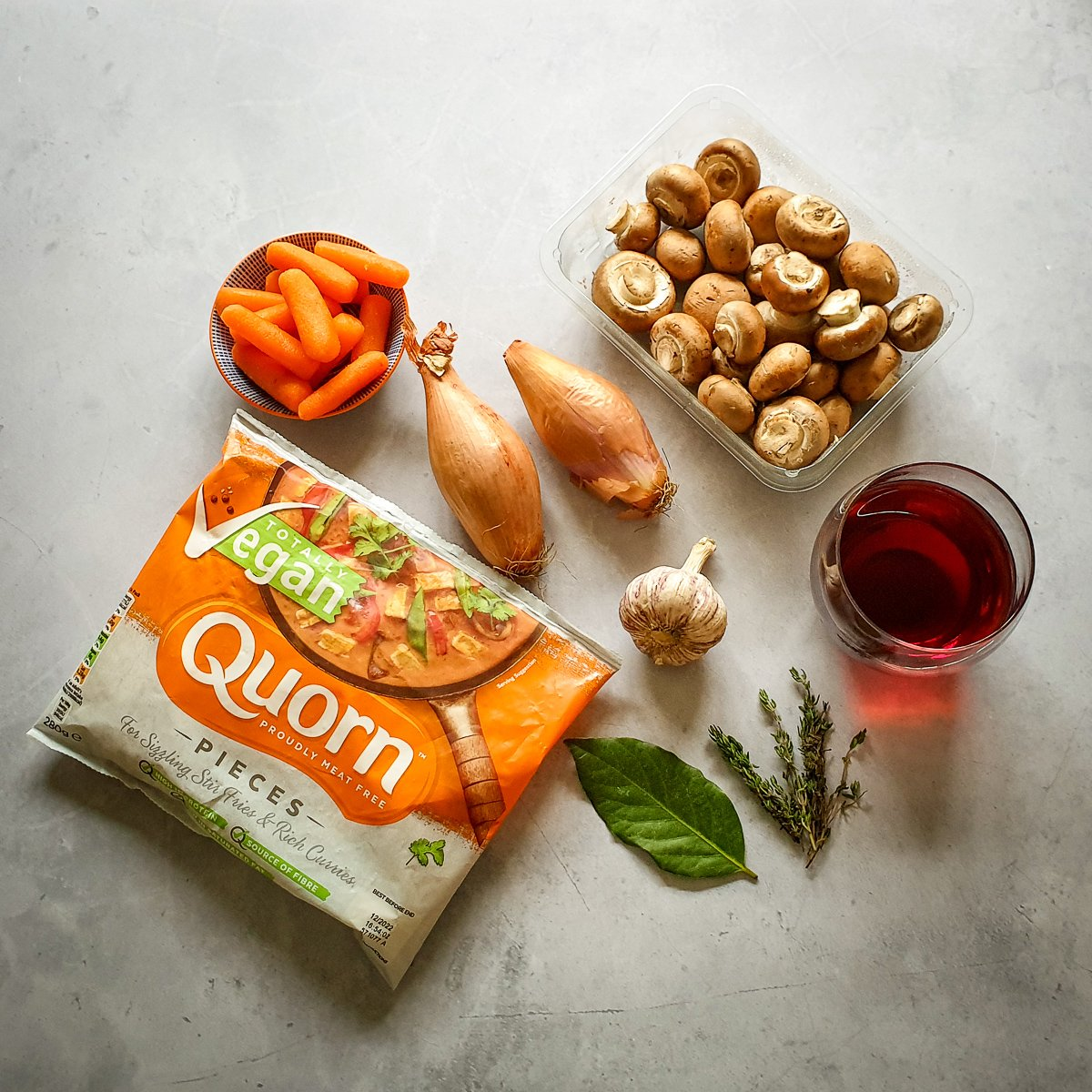 Ingredients for Quorn pie red wine sauce