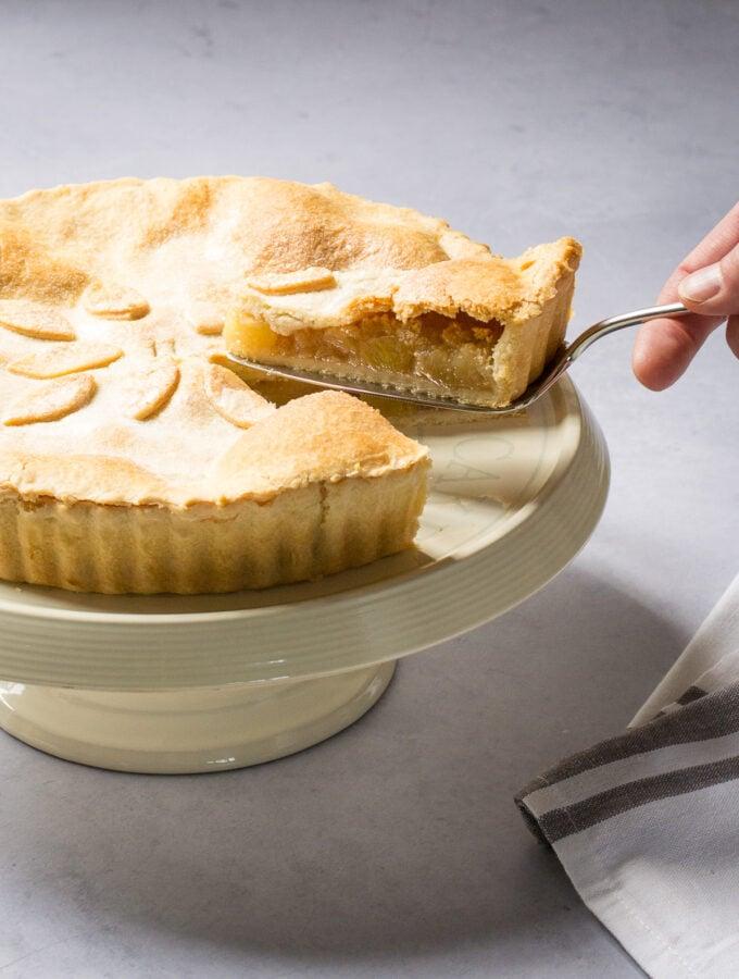 Serving a slice of Vegan Apple Pie