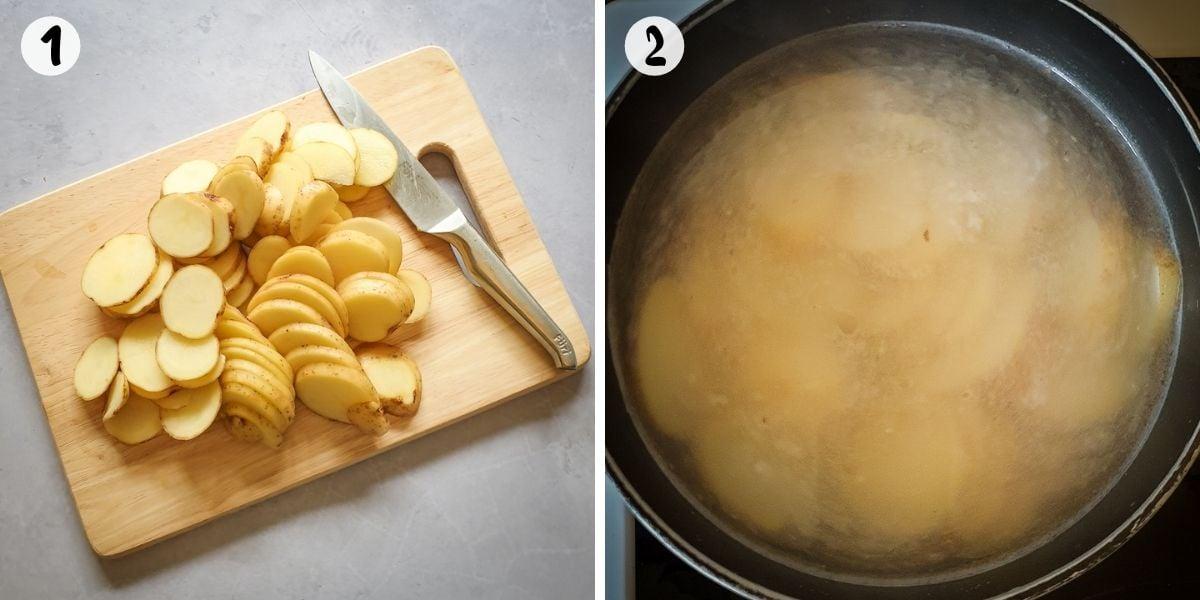 Slice and par-boil potatoes
