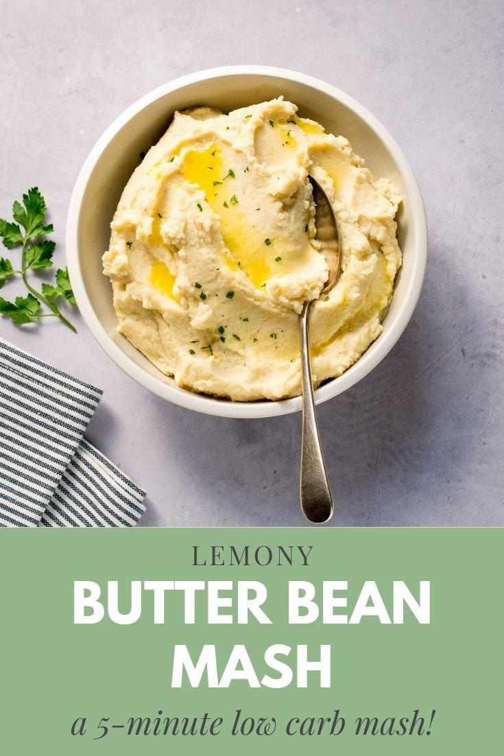 Pinterest pin for butter bean mash