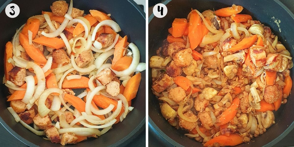 brown sausages and cook onion and carrot